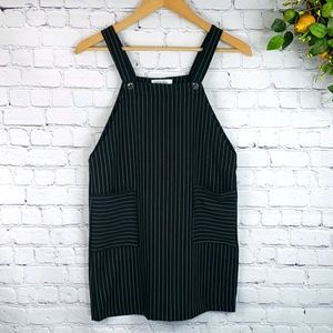 WHITE FAWN Pinstripe Overall Dress Size L